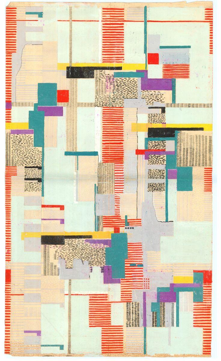 Arne Jacobsen, design drawing, textile or wallpaper, 1950s-60s. Denmark.Via kunstbib.dk