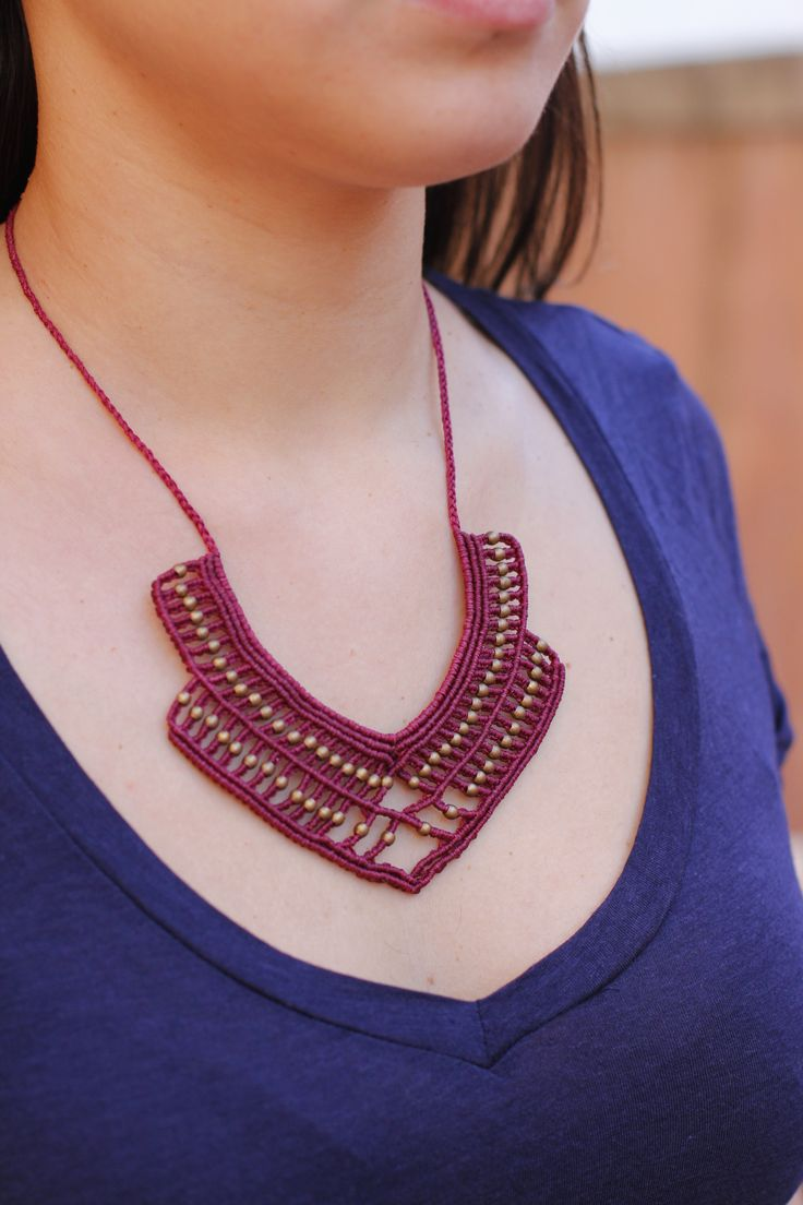 Statement macrame necklace with brass details - Limited edition, boho style necklace, gipsy necklace, adjustable length, burgundy necklace!!