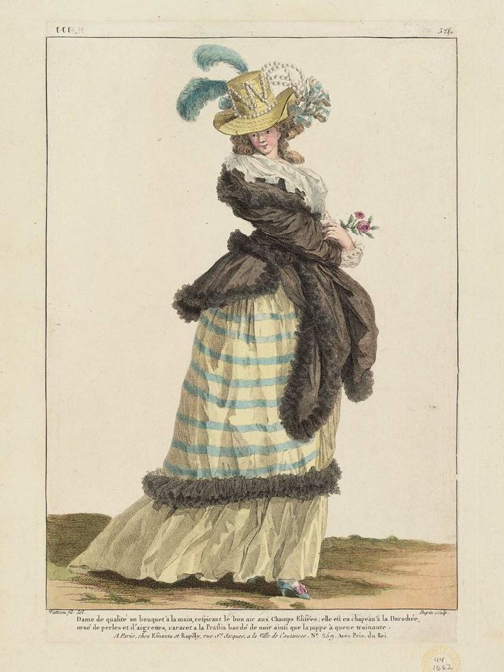 """François Louis Joseph Watteau, Gallerie des Modes et Costumes Français. 52e Cahier de Costumes Français, 46e Suite d'Habillemens à la mode en 1787. ttt.321(HHH.327), """"Dame de qualité un bouquet à la main..."""" French, 1787."""