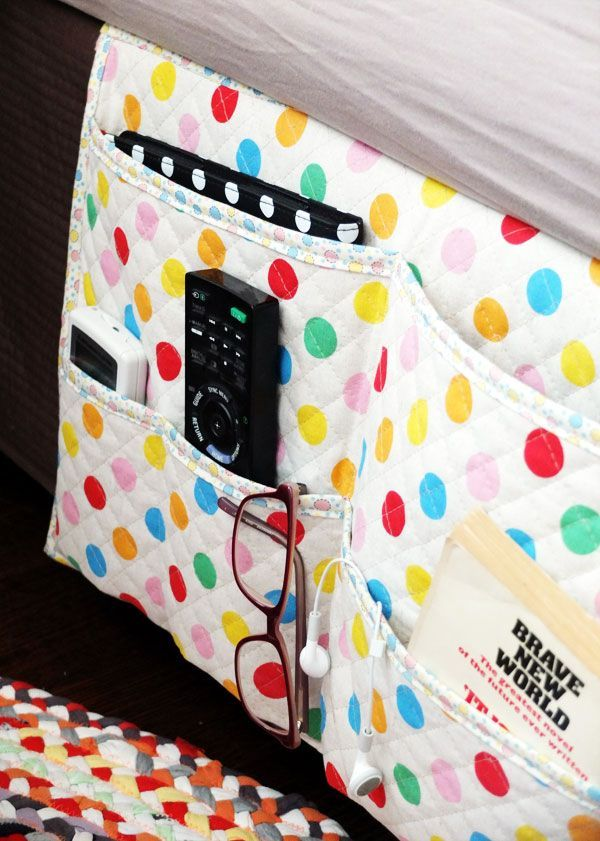 How To: Bedside Gadget Caddy and Stuff Organiser - Bedside stuff holder to tidy up bedroom clutter. Pattern and instructions