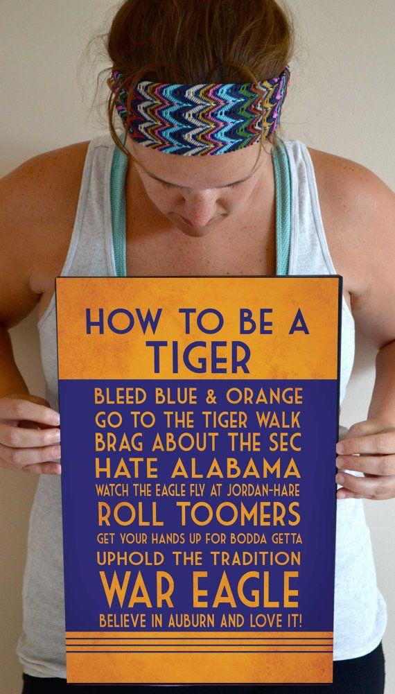 Auburn Tigers Art Print, Auburn Quote Poster Sign, Auburn Football Decor 11 x 17 on Etsy, $24.00