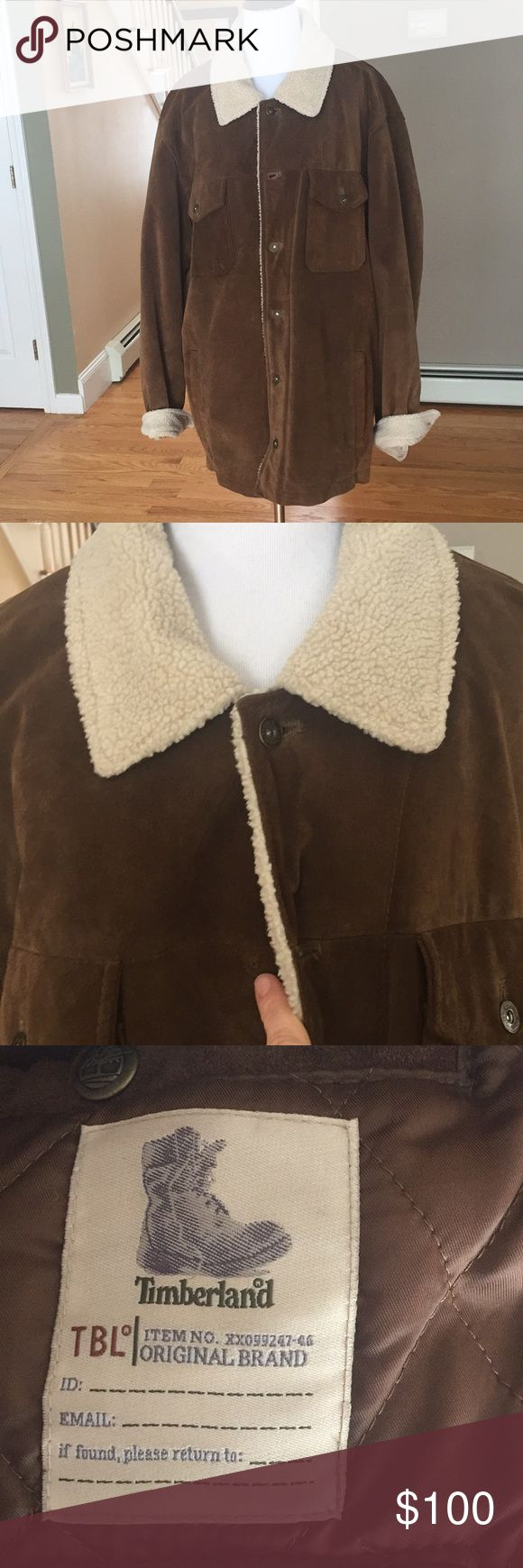 Timberland Cowhide leather jacket 🧥 Men's Authentic Timberland Cowhide leather jacket 🧥  Leather in Excellent Shape  *missing second button from top Timberland Jackets & Coats Military & Field