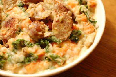 dutch comfort food - potatoes, carrots, kale and sausage.  Stamppot.