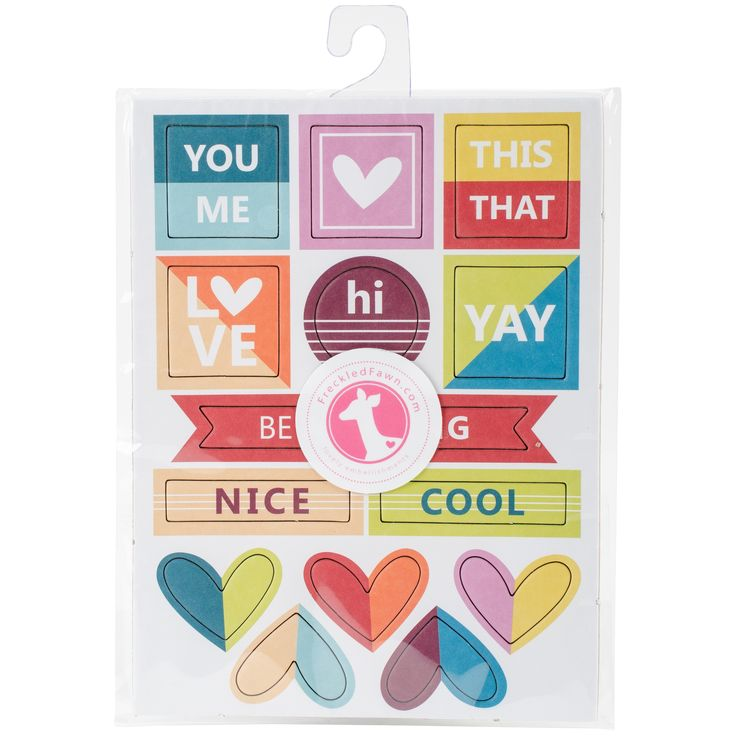 Freckled Fawn Chipboard Stickers-Colorblock Words/Hearts - colorblock words/hearts