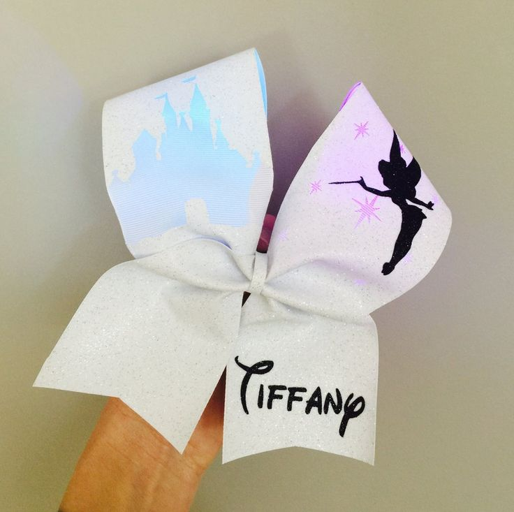 White Full Glitter Light Up COLOR CHANGING Tinkerbell Disney Castle Cheer Bow PERSONALIZED pixie dust