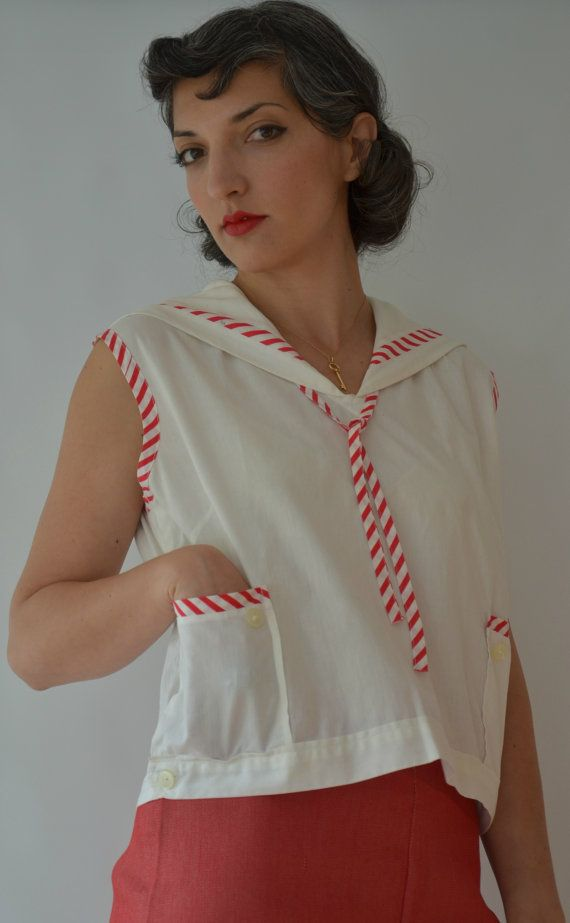 Red and White Casual Japanese 1950s by fridalarsensvintage on Etsy