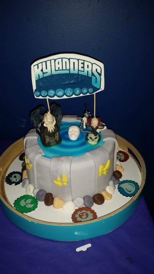 """SKYLANDERS cake but my son's name is Kylan so """"Kylanders"""" cake"""