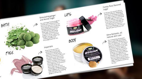 Die-Cut Brochure design for Lush Cosmetics
