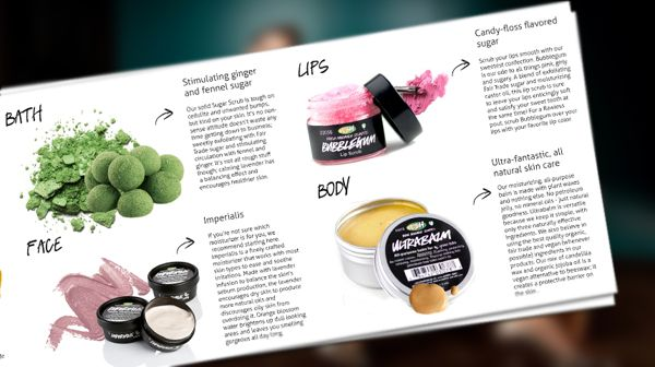 Die-Cut Brochure design for Lush Cosmetics