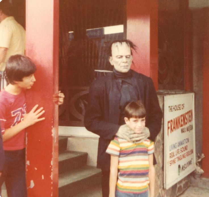 Picture from Page 27 - Introduction: Monsters in my Closet and in my Head - Why Sudbury Has Always Been Spooky To Me.  (1979 - Niagara Falls, Clifton Hill, outside Frankenstein Wax Museum) - I was 10 years old and absolutely terrified. Couldn't believe that, instead of helping me, my Dad reached for the camera to snap this pic.