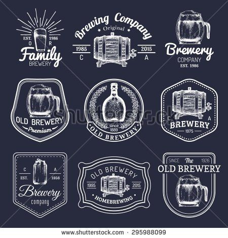stock-vector-old-brewery-logos-set-kraft-beer-retro-signs-or-icons-with-hand-sketched-glass-barrel-bottle-295988099.jpg (450×470)