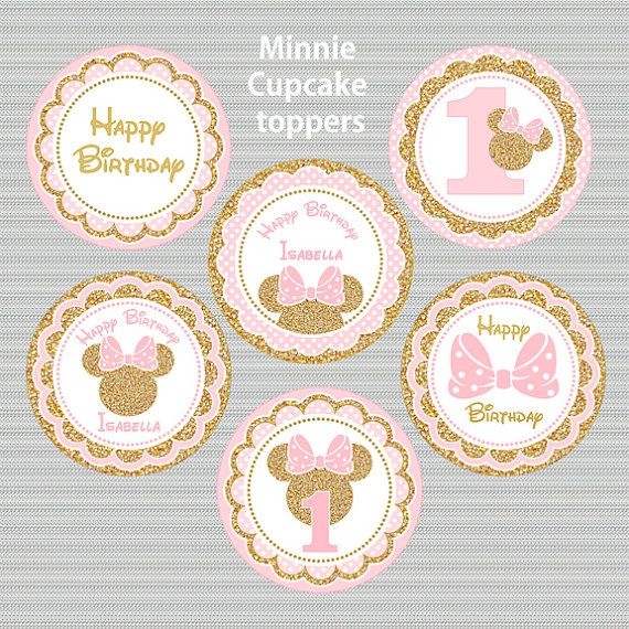 Pink and Gold Minnie Mouse Cupcake toppers Glitter Cake