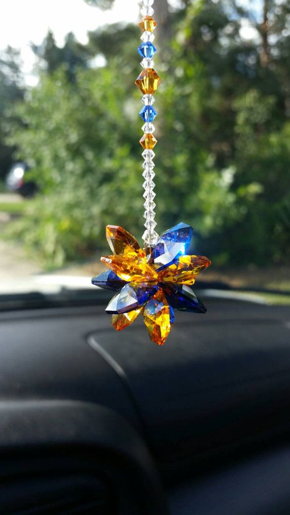 Broncos car charm  crystal suncatcher for car  by SercoDesigns