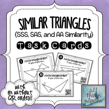 determine whether triangles are similar by SSS  SAS or AA similaritySimilar Triangles Sas