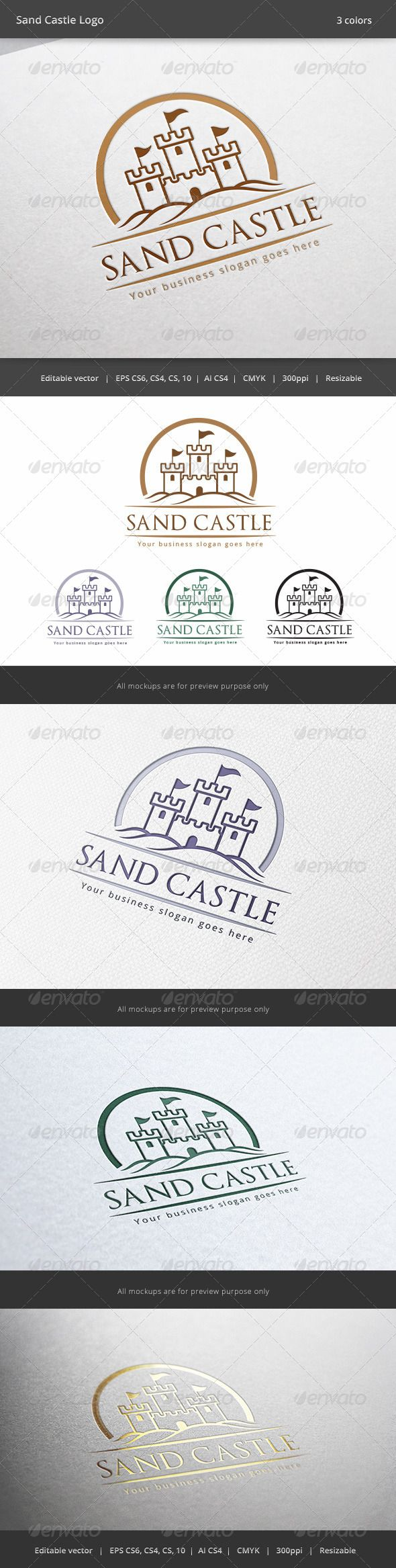 Sand Castle Logo by WheelieMonkey Files format : EPS 10, EPS CS, EPS CS4, EPS CS6, AI CS4 Color mode : CMYK Resolution : 300PPI  Resizable Free used font links i