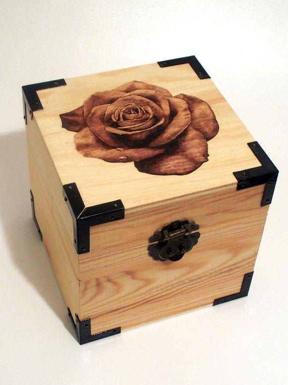Woodburned Rose Box on Etsy, $59.00