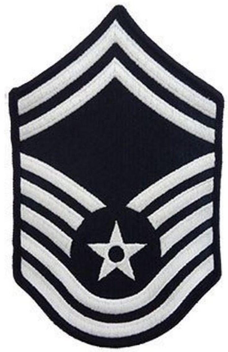 AIR FORCE EMBROIDERED CHEVRON: SENIOR MASTER SERGEANT - SMALL COLOR