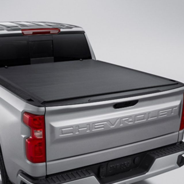 Standard Bed Soft Roll Up Tonneau Cover With Chevrolet Bowtie Logo