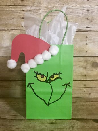 The Grinch Bag. Draw face on pencil glass globes