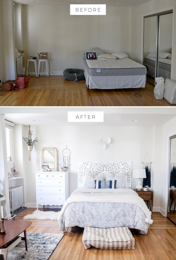 bedroom before and after, bedroom makeover, boho bedroom, bohemian bedroom, light and bright home decor, apartment decor, urban outfitters headboard, anthropologie bedding, white dresser, white bedroom, west elm side table