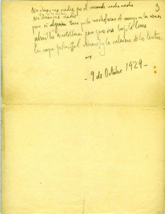 Manuscrito Ciudad sin sueño: Nocturno del Brooklyn Bridge  de Poeta en Nueva York, 29 de octubre de 1929. Col. Fundación Federico García Lorca, Madrid