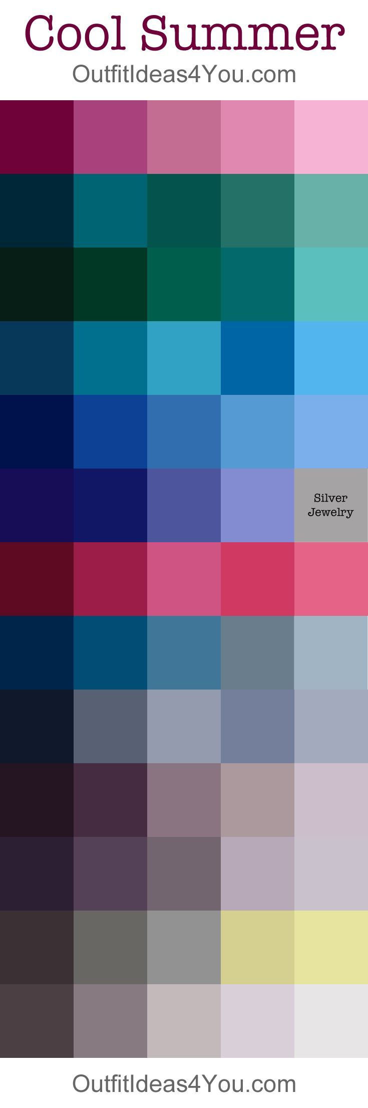 Cool Summer Color Palette - with tones.