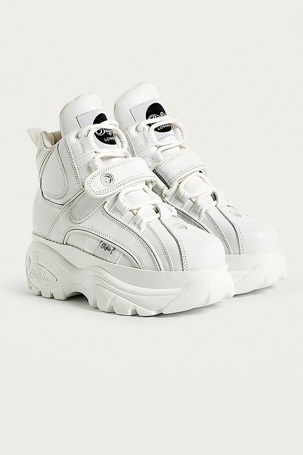 9fefdec3061 Buffalo White Leather Hi-Top Platform Trainers in 2019