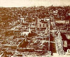 Great fire of Smyrna - A view from the city after the fire, 15 September 1922