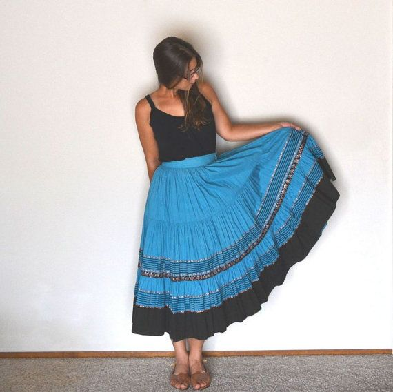 Mexican Circle Skirt Vintage 1950s Dolores by StoryTellersVintage