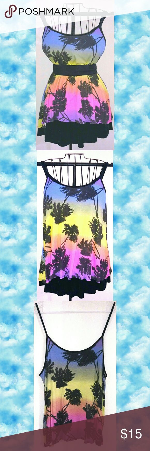 Rainbow Sky Palm Tree Tank Flowy Cami tank from Boohoo Plus in rainbow sky and black palm tree print. Black spaghetti straps and trim.   Marked as a US 14 because Boohoo's sizing is wildly inconsistent, but it absolutely fits like a 2X/US 20.   Black velvet skirt also available-- check my closet for the listing! (Belt not included.) Boohoo Plus Tops
