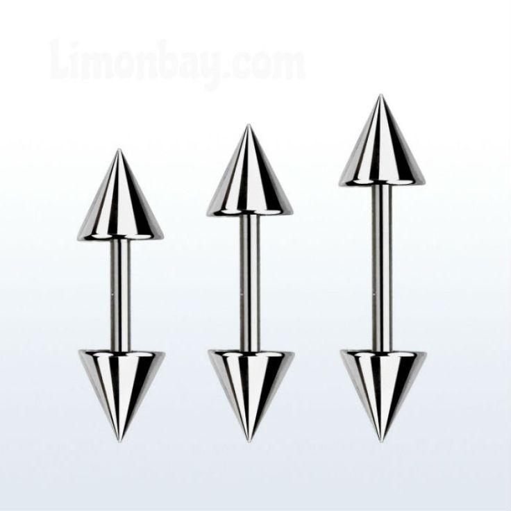 Barra corta para piercing de lóbulo, tragus o hélix. Con conos. Grosor: 1,2mm…