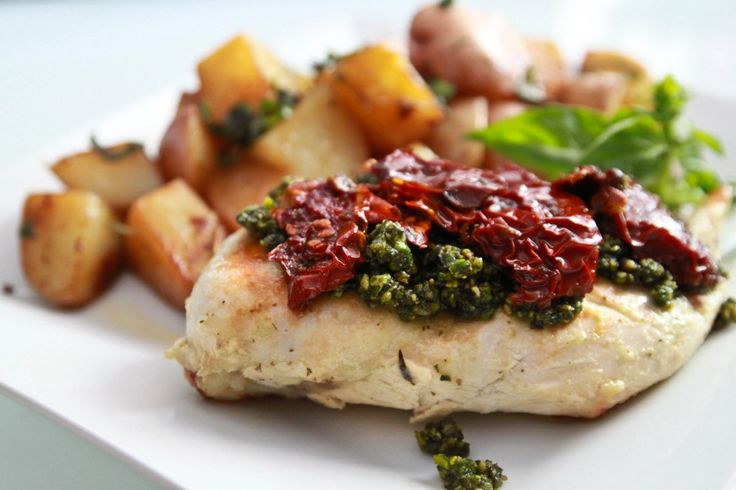 Chicken with Pistachio Pesto and Sun Dried Tomatoes
