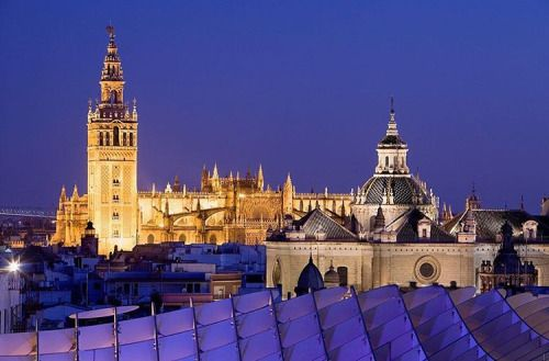 Cathedral as seen from the Metropol Parasol, Seville, Spain