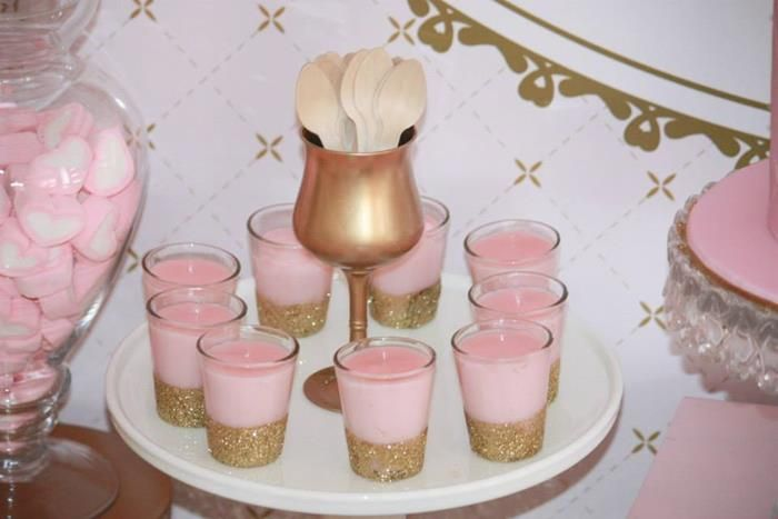 Pink and Gold Princess Party So Many Really Cute Ideas via Kara's Party Ideas KarasPartyIdeas.com 'with jello shots? cuz it's new years eve, too'