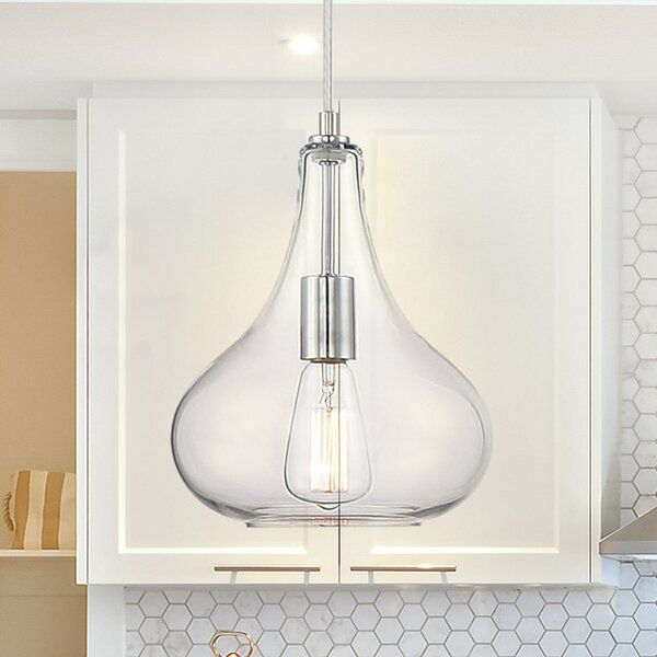 Majoch 1 Light Single Teardrop Pendant In 2020 Glass Pendant Ceiling Light Ceiling Lights Clear Light Bulbs