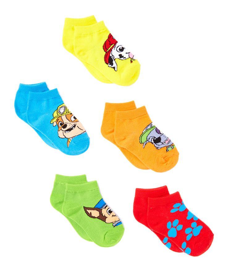 PAW Patrol Red & Yellow Five-Pair No-Show Socks Set