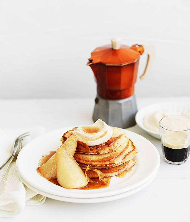 Pancakes with maple-syrup pears and spiced ricotta recipe | Gourmet ...