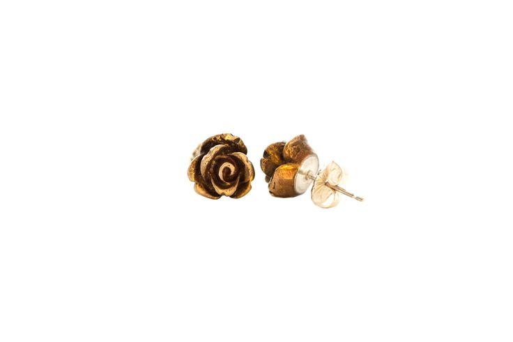 Mini Bronze Rose Earrings/Sterling Silver Handmade;)  www.etsy.com/shop/kaczdesigns