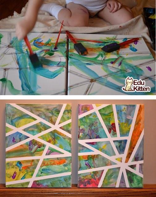 لوحة من صنع طفلك الفنان ليضيف لمسته لديكور البيت  Young artist project for home decorating