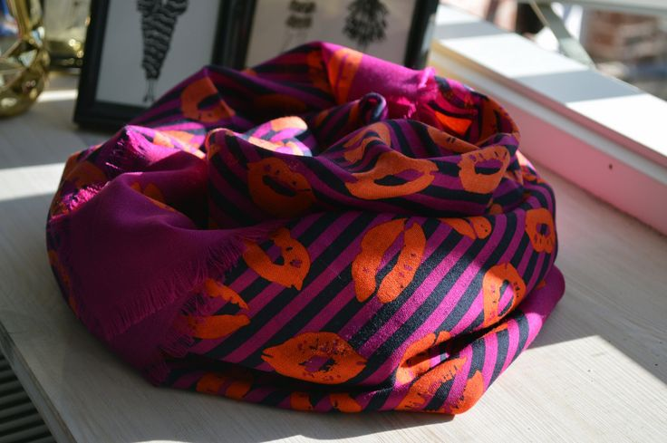 Marc By Marc Jacobs stripey lips print scarf. August 2014.