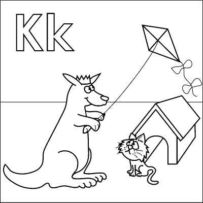 K Coloring Pages Letter K coloring page (Kangaroo, King, Kite, Kitten, Kennel). Color ...