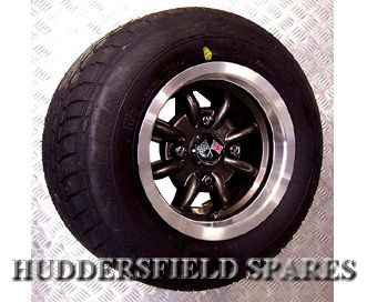 6x10 Black (polished rim) Retro Minilight Style Alloy Wheel Package for Classic Mini - Huddersfield Spares Limited