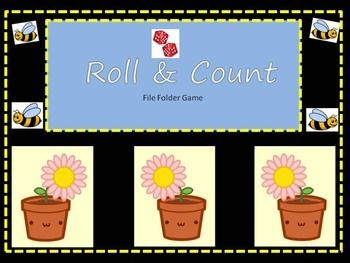 This easy to create file folder game is versatile in usage. With 2 dice its an addition game. Roll the dice cover the flower with the bee and count to solve. Using one die and beginning with 12 cover the corresponding flower to the die and count remaining flowers for the answer.