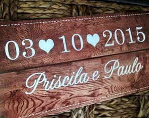 Placa Save the Date tipo Madeira