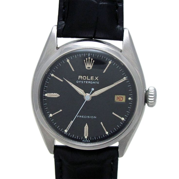 ROLEX OYSTER DATE MANUAL WINDING WATCH  Feature : Center Second, Date and Manual Winding Dial Features : Repainted Dial Dial Color : Black Markers : Steel Arrow Figures Case Material : Original Standard Stainless Steel Case Condition : Used and Excellent as per its Age Sign : Signed on the Dial, Crown, In Side Back Cover and Movement Authentic : All Watches displayed are 100% Authentic and Original Crown : Pull Band Type : Leather Hands : Steel Hands