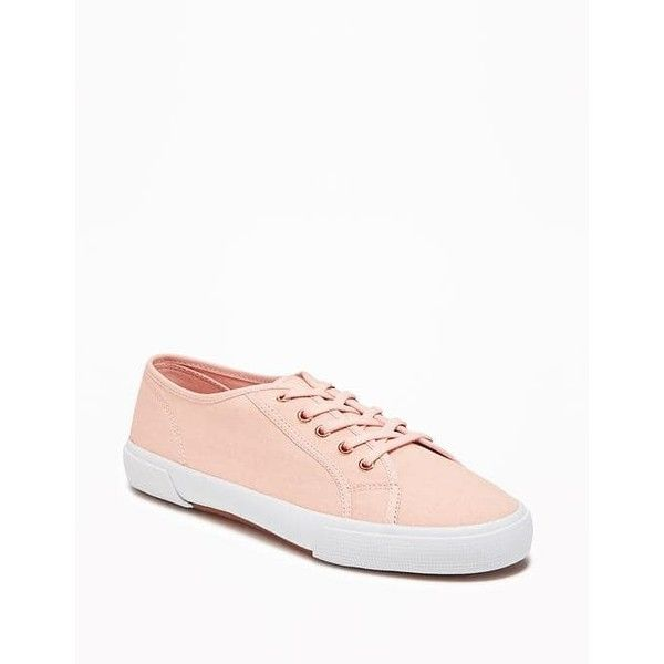 Old Navy Womens Canvas Sneakers (31 NZD) ❤ liked on Polyvore featuring shoes, sneakers, blush, white trainers, metallic sneakers, canvas lace up sneakers, white eyelet shoes and white shoes