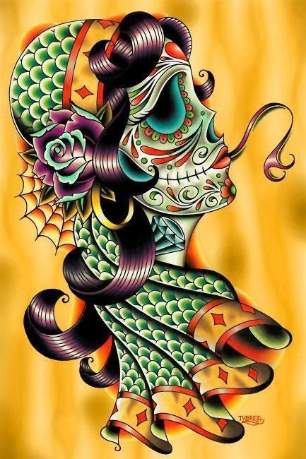 Cigana Sangue Frio Por Tyler bredeweg Tatuagem arte impressão Dia Dos Mortos Caveira Rosa in Arte, De negociantes e revendedores, Gravuras/impressões   eBay