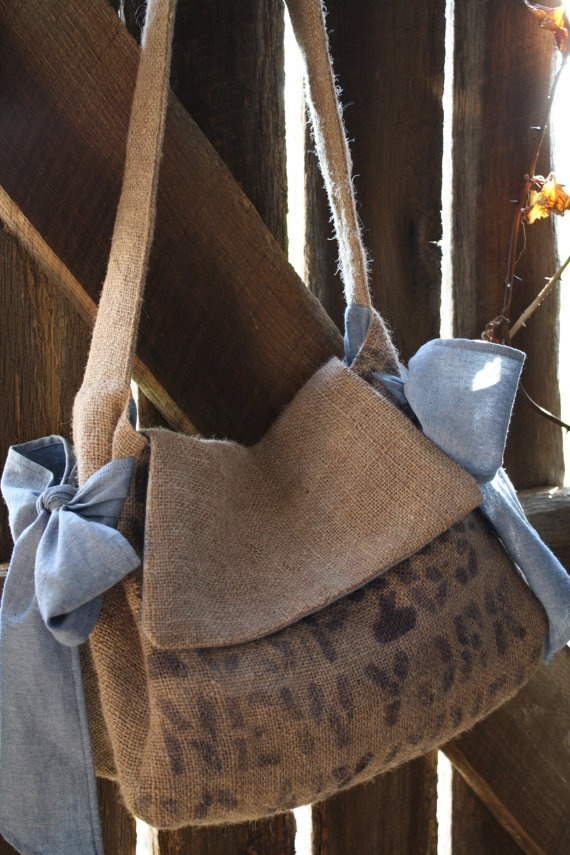 cross-body messenger bag :: burlap coffee sack
