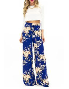 Floral Print High Waist Straight Cut Fold Over Palazzo Loose Pants