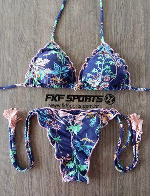 f3213271f Biquíni Ripple - Busto com bojo removível - Calcinha de amarrar | Estampa  floral marinho